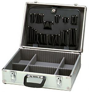 Clarke TB2001A Professional Anodized Aluminum Tool Case SILVER 18.75x14.25x6.5&quot;Outside 17x12&quot;Inside, ShoulderStrap, 8.5Lb, Computer Copier Elect Techs