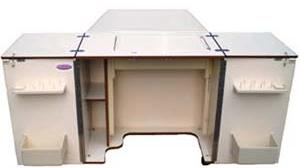 "Alphasew, P60915-QT, Compact, Sewing machine Cabinet, with Quilt Table, Oak Finish, Spool Holder, Air Lifter System, 29.5"" x61"" x 17.25"""