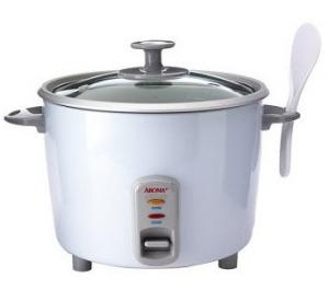 Aroma, ARC-730G, 10 Dry Cups, Pot Style, Rice Cooker, Cooks up to, 20 Cups, while steaming fish, meat, poultry, vegetables on tray, aluminum, with glass lid