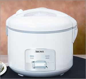 Aroma ARC-928S 8 Cup Cool Touch Rice Cooker with Steam Tray - White/Silver Panel