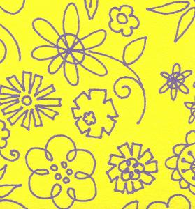 Kiwi Embroidery Paper #265 Banana With Grape Banana Doodle Flowers 8.5in x 11in Sheet