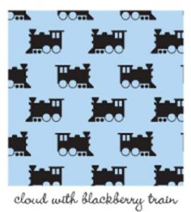 Kiwi Embroidery Paper #413 Cloud  With Blackberry Train 8.5in x 11in Sheet