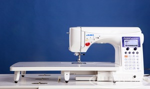 hzlf600, fzl f600, Juki, HZL-F600, Exceed Series, Full Sized, Computer Sewing, Quilting Machine, Juki HZL F600 Exceed, 255 Stitch, Computer, Sewing Quilting Machine, 4 Fonts, 16 Buttonholes, Walk Foot,  Box Feed, Threader, Trimmer, Knee Lever, Ext Table, 900SPM, 22Lbs