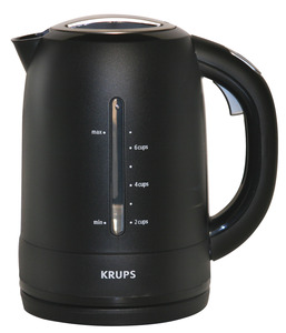 Krups FLF2J4 Kettle - Black, Cordless, 1750 watts, 5 oz, Auto off, Cool Touch Handle, Locking Lid