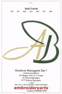 Embroideryarts Moderne Monogram Set 1 Embroidery Multi-Formatted CD