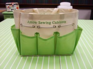Arrow Cabinets Canvas Craft &amp; Notions Bag 12x6x8&quot;, 7 Side Pockets, Draw String, Green on White, Embroidered with Arrow Cabinets and Kangaroo Cabinets