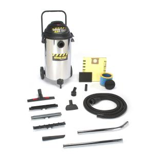 Shop-Vac 001-9624910, 2.5-Peak Horsepower, Industrial Stainless Steel, Wet/Dry Vacuum, 20-Gallon, 35' Cord, Extra Quiet, Lock On Hose, Onboard Storage, Plastic Storage Basket, 1 Year Warranty, Squeegee Inserts, Extension Wands, Master Nozzle, Rug Brush