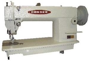 "Consew 205RB-1 Walking Foot Top & Bottom Feed Industrial Upholstery Sewing Machine, Power Stand 2000SPM, Auto Oil, Mbobbin, 6mmLift, 8mmSL, 10.25"" Arm"