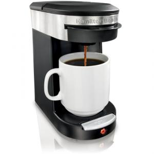 Hamilton Beach 49970 Personal Cup One Cup Pod Brewer, Brews up to 12oz Cup, Automatic Shut-Off, Brew Basket, 18 Pod Starter Bag of Senseo® Coffee, Coupon Included, Dishwasher Safe