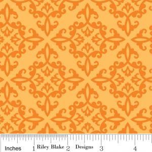"Riley Blake Designs C2534 Orange Trick or Treat Damask15Yd Bolt6.60 A Yd 100%Cotton Pattern45""Fabric"