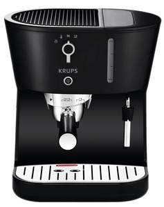 Krups XP420050 Perfecto Black with Precise Tamp Espresso, Universal Filter Holder, Make Single or Double Shots, Multi-directional Frothing Nozzle, Removable Drip Tray, Water Tank, 1450 Watt