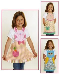 Cynthia Rose  FN152 Fun Friends Child's Apron Bunny, Cat & Owl