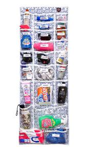 "BlueFig SS-200 Over the Door Organizer 52""X19"", 23 Pockets to Label, for Quilters & Sewers, Hardware Included, Dusty Blue, Harvest Gold (Light Green)"