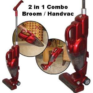 Dust Care Lil' Quickie Hand Vacuum & Broom Vacuum, metallic red w/telescopic handle for easy storage