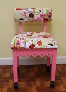 "Arrow 4005 Gingerbread Sewing Chair PINK, Alexander Henry Fabric, Notions Motif, 4Casters, Lumbar Support 30""H, OakWood Legs 20""H Seat, 16x18"" Cushion"
