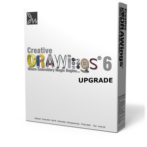 Creative, DRAWings, Creative DRAWings 6, Upgrade, from 3, 4 &amp; 5, DVD, Code, Link, Embroidery Digitize Density Quilting Edit Fonts Crystals Rhinestones Monogram Size XStitch Applique Design Wings, Creative DRAWings v6 UPGRADE for v3,4,5, Code&amp;Link, Embroidery Digitizing Software, .35mmDensity Quilting Edit Font Monogram Size XStitch Applique DVD