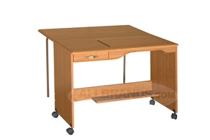 "Fashion, (Roberts), 387 Electric, Manual, Quilting, Embroidery, Table, in Maple, or White, with W 47H Drop Leaf 42"" W x 19 3/4"" D"