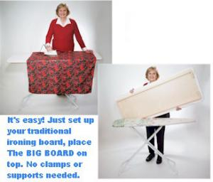 Big Board, Ironing Table, Fits over, Ironing Boards, Includes, Cover and Pad, Set, Expand Your, 15&quot; Ironing Board, to 22&quot; x 59&quot; Board