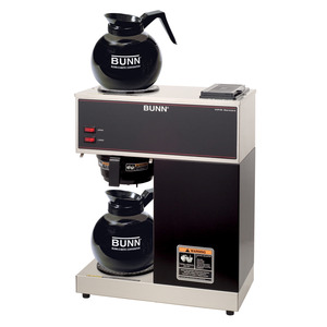 New! Bunn VPR 12-Cup Pourover Commercial Coffee Brewer with Upper and Lower Warmers and Two Glass Decanters, Black