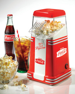 Nostalgia Electrics Coca-Cola Series RHP310COKE Mini Hot Air Popcorn Popper Machine, 8 Cups Oil Free, kernel measuring cap, 1950's Look