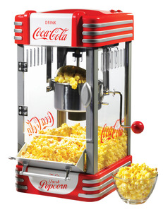 In Stock, Nostalgia Electrics, Coca Cola Series, RKP630COKE, Stainless Steel, Kettle, Popcorn Maker, Stirs 10 Cups 2.5oz, Measure Spoon, Cup, Window, Light, Tilt Doorr