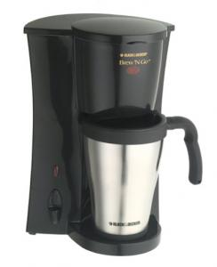 Black & Decker, DCM18S, Brew 'N Go, Deluxe, Single Serve, Coffee Maker, Permanent Filter, On Light, AutoOff, 15oz, 450ml, Stainless Steel, Insulated Mug, & Lid