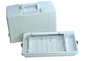 PD60, # 60218, Hard White Plastic, Full Size, Carrying Case, Handle & Hinges for Singer 3/4 Size Spartan, 99K, & 185,  Flatbed, Straight Stitch, Sewing Machines